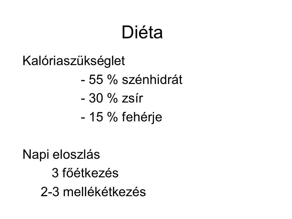 Diéta Kalóriaszükséglet - 55 % szénhidrát - 30 % zsír - 15 % fehérje Napi eloszlás 3 főétkezés 2-3 mellékétkezés