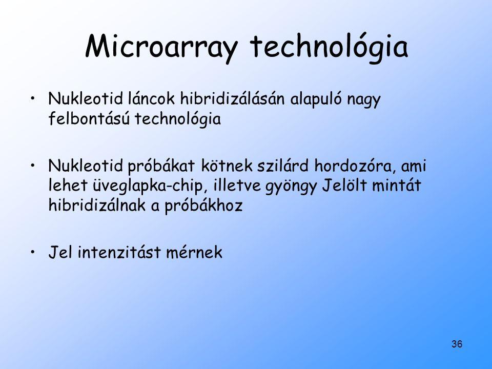 36 Microarray technológia Nukleotid láncok hibridizálásán alapuló nagy felbontású technológia Nukleotid próbákat kötnek szilárd hordozóra, ami lehet ü