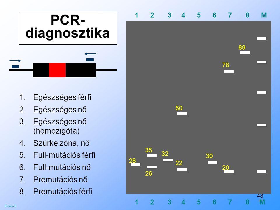 48 PCR- diagnosztika 1 2 3 4 5 6 7 8 M 28 26 35 32 22 30 50 20 78 89 1.Egészséges férfi 2.Egészséges nő 3.Egészséges nő (homozigóta) 4.Szürke zóna, nő