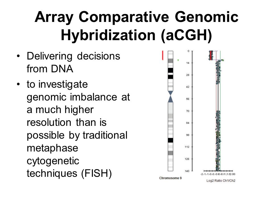 Array Comparative Genomic Hybridization (aCGH) Delivering decisions from DNA to investigate genomic imbalance at a much higher resolution than is poss