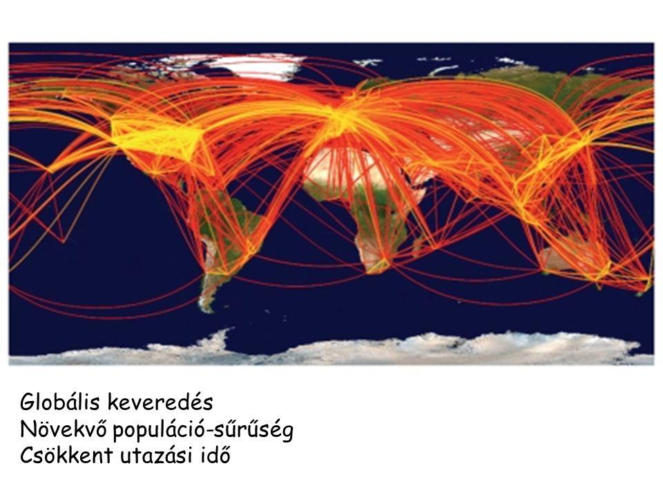 Globális keveredés Növekvő populáció-sűrűség Csökkent utazási idő