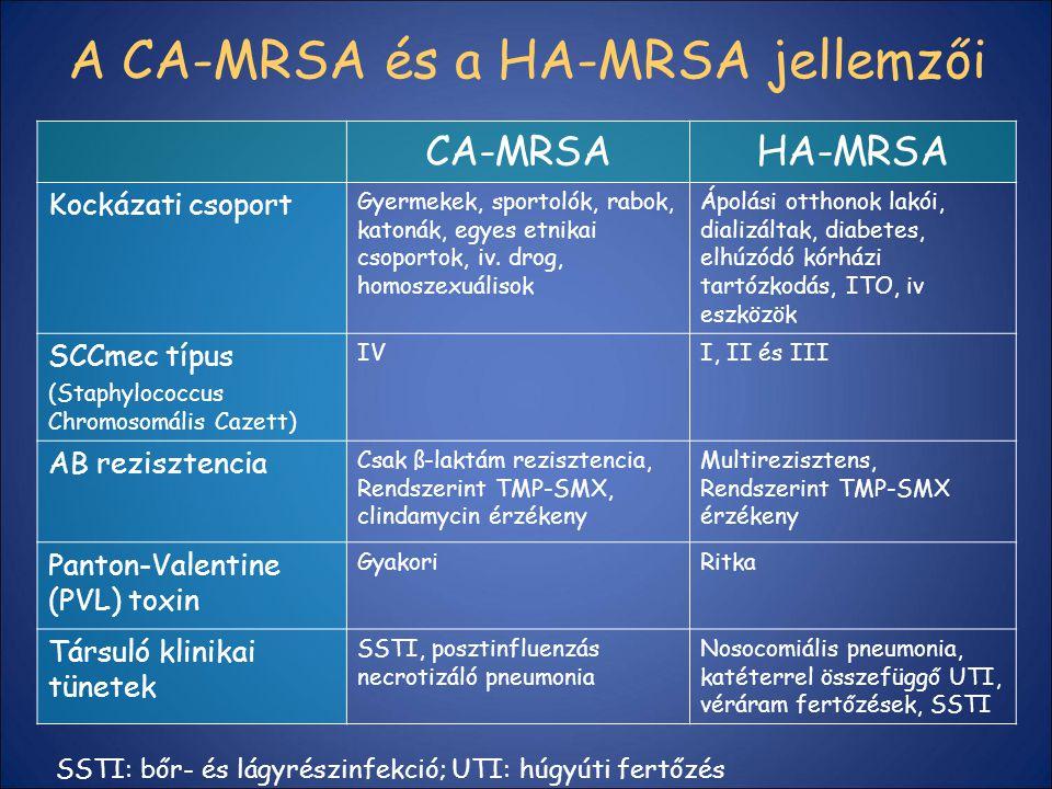 A CA-MRSA és a HA-MRSA jellemzői CA-MRSAHA-MRSA Kockázati csoport Gyermekek, sportolók, rabok, katonák, egyes etnikai csoportok, iv. drog, homoszexuál