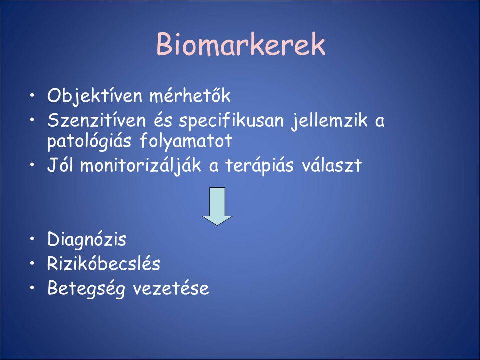 Biomarkerek Objektíven mérhetők Szenzitíven és specifikusan jellemzik a patológiás folyamatot Jól monitorizálják a terápiás választ Diagnózis Rizikóbe