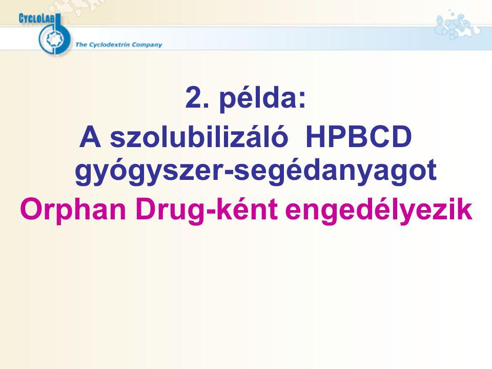 2. példa: A szolubilizáló HPBCD gyógyszer-segédanyagot Orphan Drug-ként engedélyezik