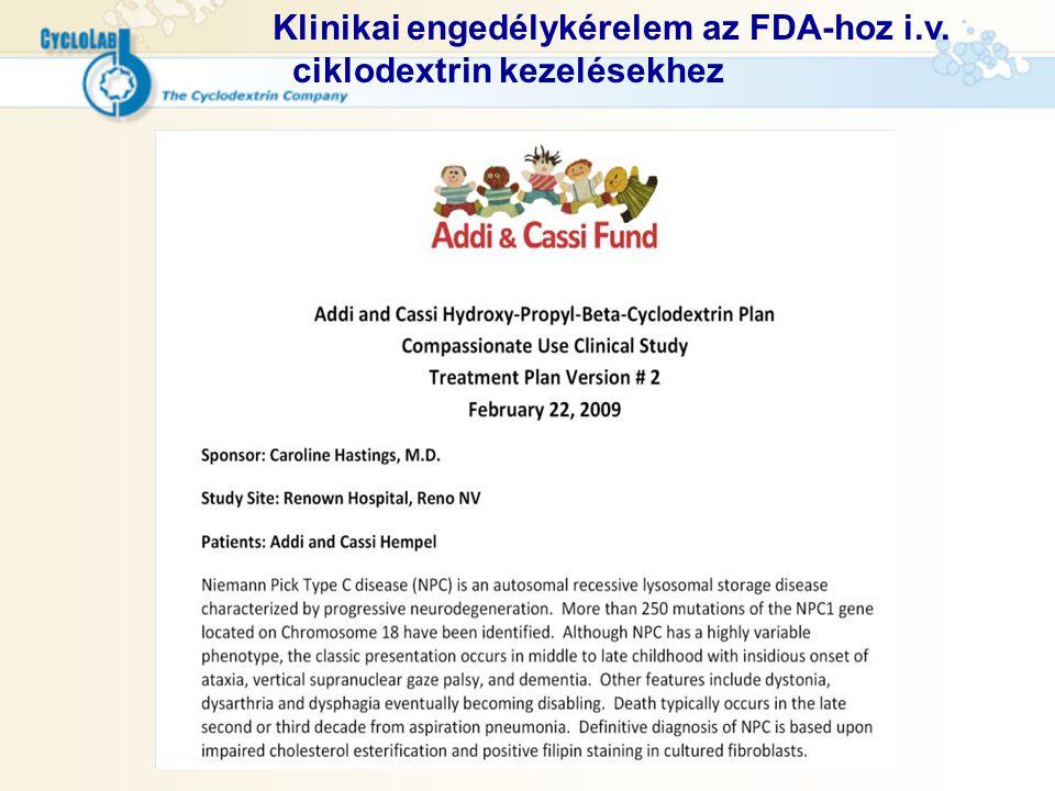 Klinikai engedélykérelem az FDA-hoz i.v. ciklodextrin kezelésekhez