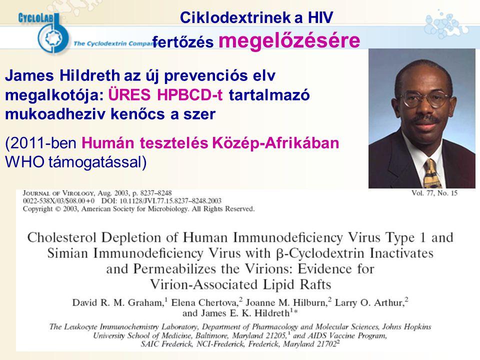 Ciklodextrinek a HIV fertőzés megelőzésére James Hildreth az új prevenciós elv megalkotója: ÜRES HPBCD-t tartalmazó mukoadheziv kenőcs a szer (2011-be