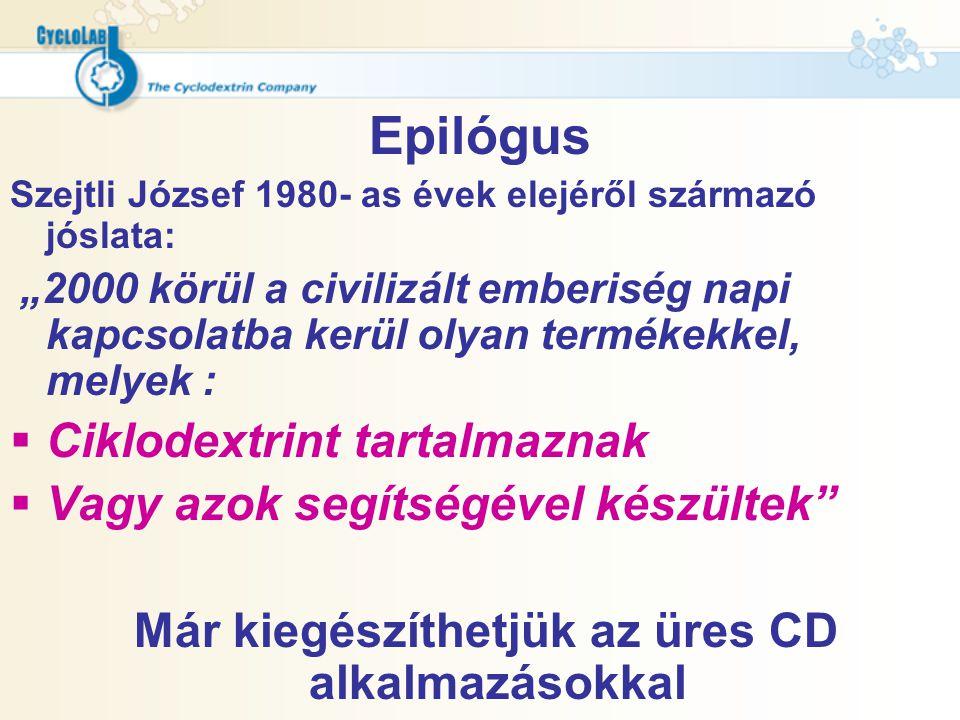 """Epilógus Szejtli József 1980- as évek elejéről származó jóslata: """"2000 körül a civilizált emberiség napi kapcsolatba kerül olyan termékekkel, melyek :"""