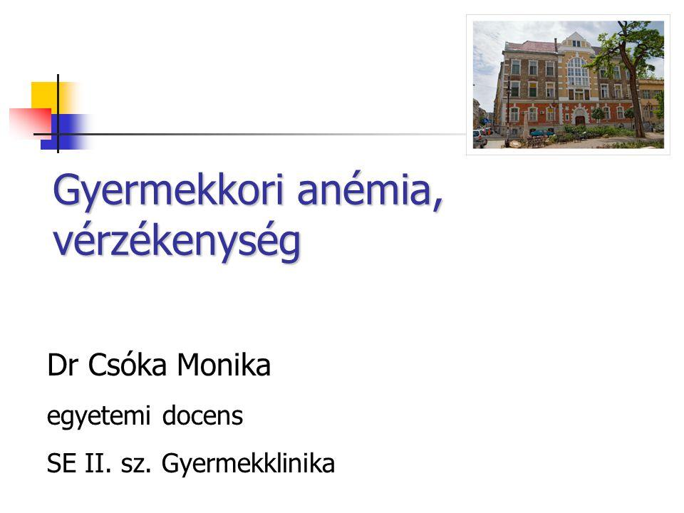 Gyermekkori anémia, vérzékenység Dr Csóka Monika egyetemi docens SE II. sz. Gyermekklinika
