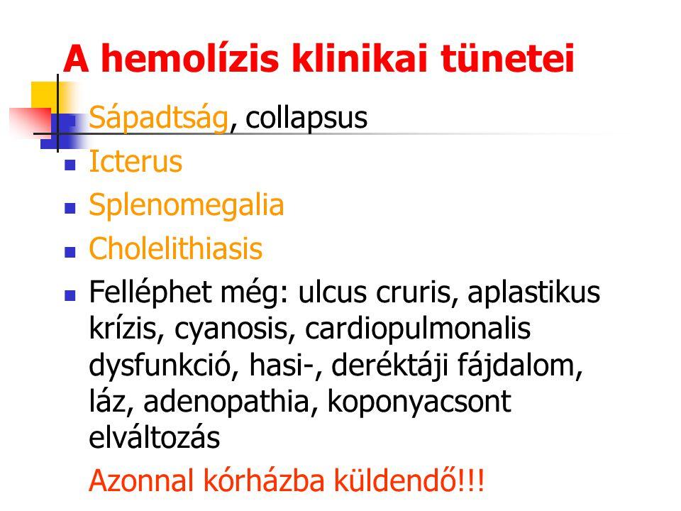 Hemolitikus anemiák Vvt. enzimdefektusok (pl. G6PDH, PK) Vvt. alaki rendellenességek (pl. spherocytosis) Extracorpuscularis hemolízisek: AIHA Gyógysze