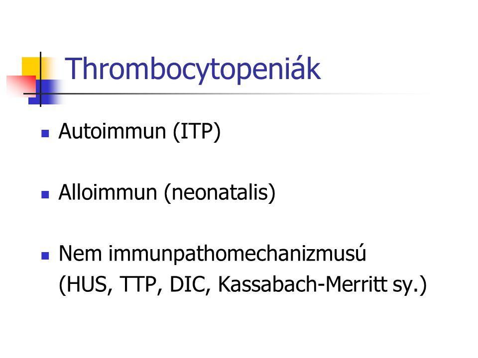Laboratóriumi vizsgálatok Vasculo- pathia thrombocyto- penia thrombocyto- pathia coagulo- pathia gyógyszer Vérzési idő +++-+/- Thr szám -+--+/- PTT --
