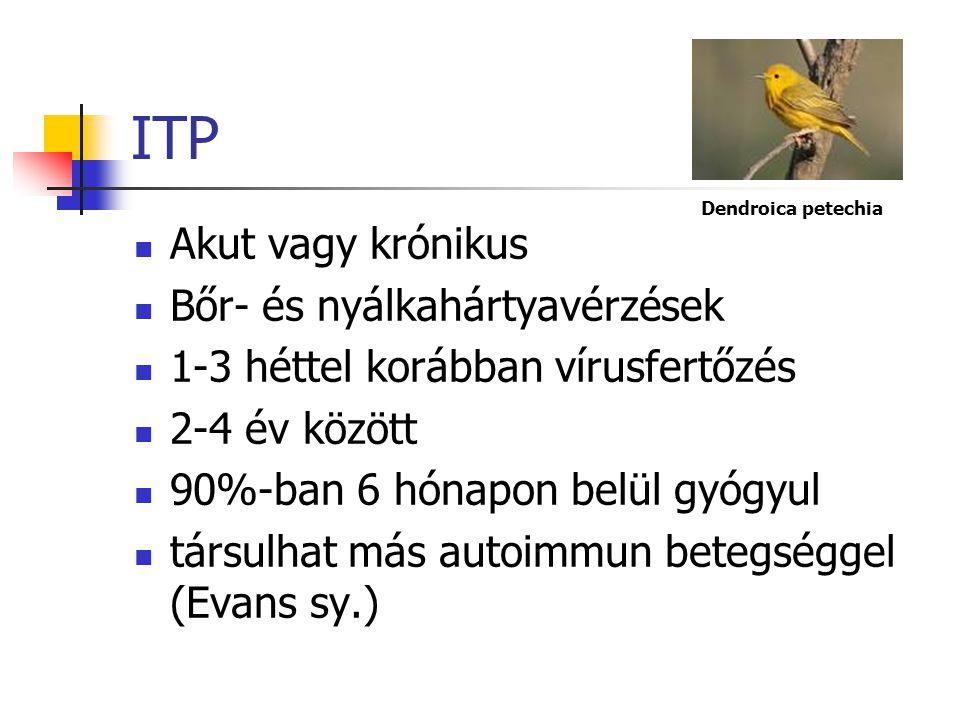 Thrombocytopeniák Autoimmun (ITP) Alloimmun (neonatalis) Nem immunpathomechanizmusú (HUS, TTP, DIC, Kassabach-Merritt sy.)