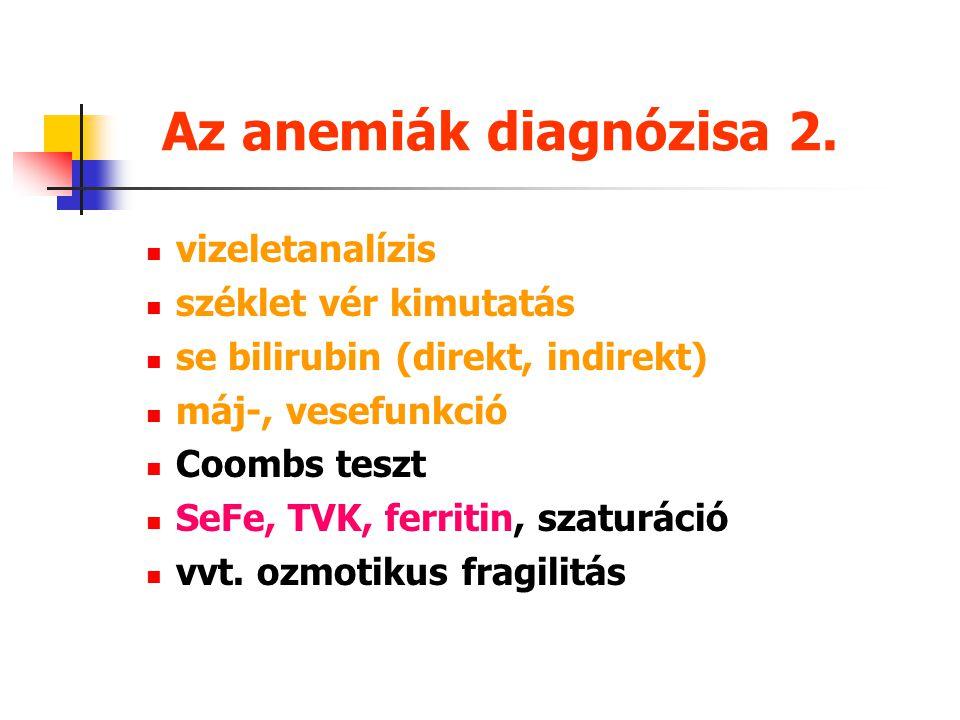 Az anemiák diagnózisa 1. anamnézis és fizikális vizsgálat vérkép, vvt. indexek, reticulocytaszám, qual. vérkép életkori értékekkel való összehasonlítá