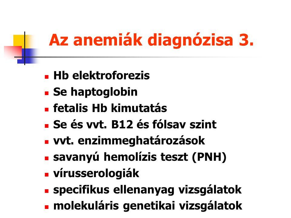 Az anemiák diagnózisa 2. vizeletanalízis széklet vér kimutatás se bilirubin (direkt, indirekt) máj-, vesefunkció Coombs teszt SeFe, TVK, ferritin, sza