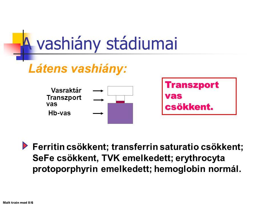 A vashiány stádiumai Prelátens vashiány: A vasraktárak üresek. Ferritin csökkent; transferrin saturatio csökkent; TVK emelkedett; hemoglobin normális.