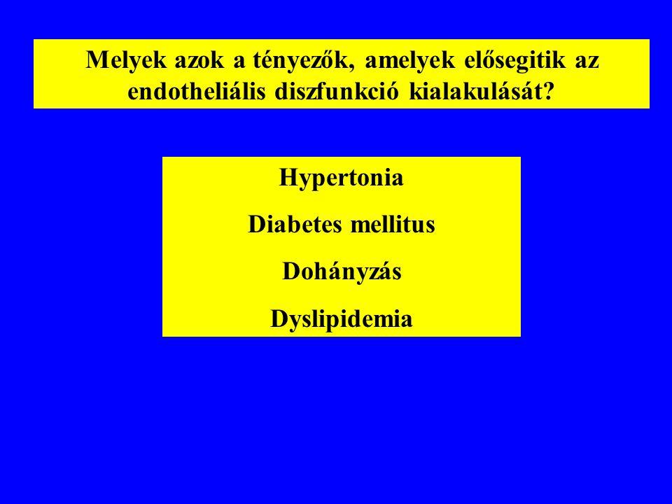 Melyek azok a tényezők, amelyek elősegitik az endotheliális diszfunkció kialakulását? Hypertonia Diabetes mellitus Dohányzás Dyslipidemia