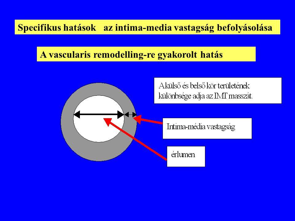 Specifikus hatások az intima-media vastagság befolyásolása A vascularis remodelling-re gyakorolt hatás