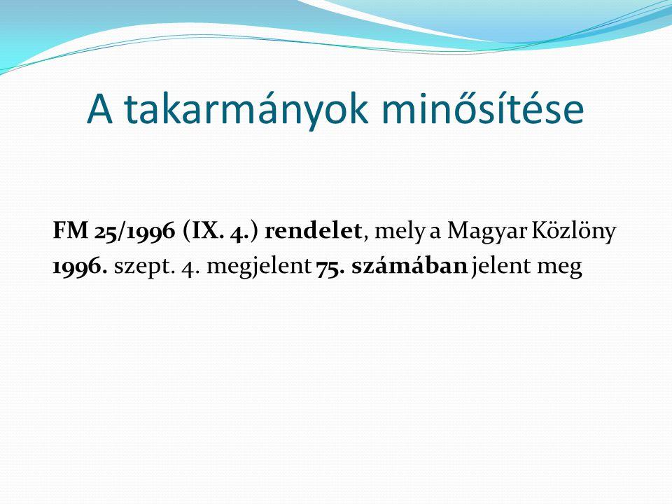A takarmányok minősítése FM 25/1996 (IX. 4.) rendelet, mely a Magyar Közlöny 1996. szept. 4. megjelent 75. számában jelent meg