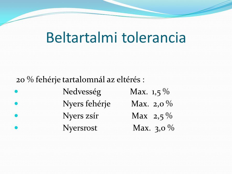 Beltartalmi tolerancia 20 % fehérje tartalomnál az eltérés : Nedvesség Max. 1,5 % Nyers fehérje Max. 2,0 % Nyers zsír Max 2,5 % Nyersrost Max. 3,0 %