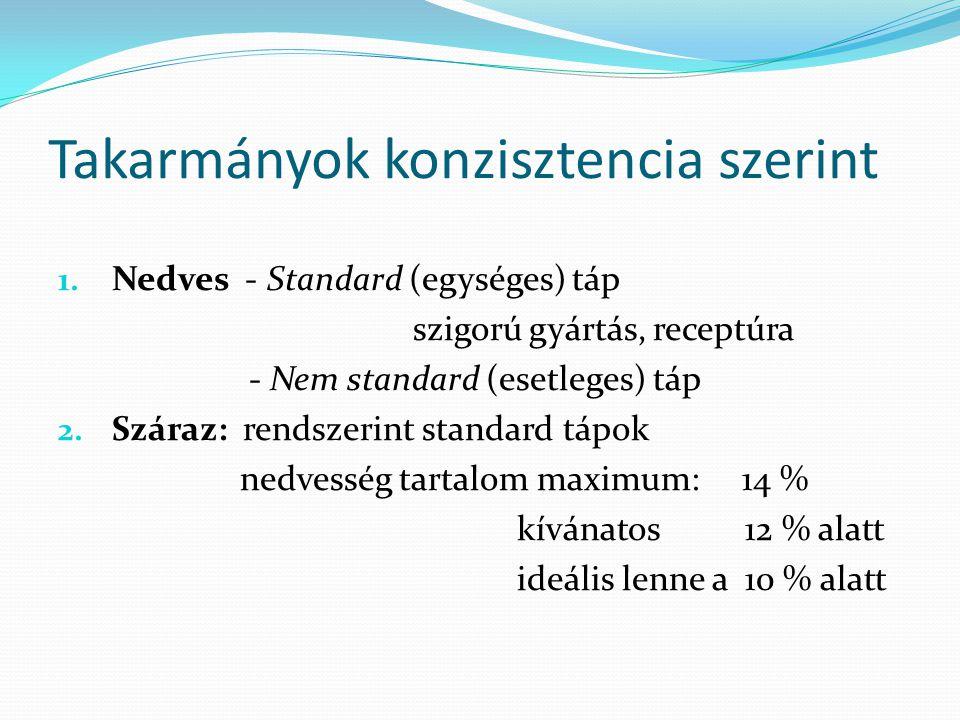 Takarmányok konzisztencia szerint 1. Nedves - Standard (egységes) táp szigorú gyártás, receptúra - Nem standard (esetleges) táp 2. Száraz: rendszerint