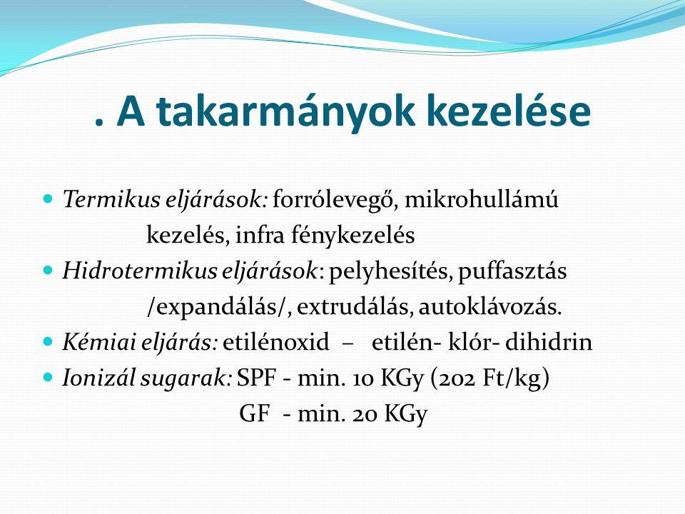 . A takarmányok kezelése Termikus eljárások: forrólevegő, mikrohullámú kezelés, infra fénykezelés Hidrotermikus eljárások: pelyhesítés, puffasztás /ex