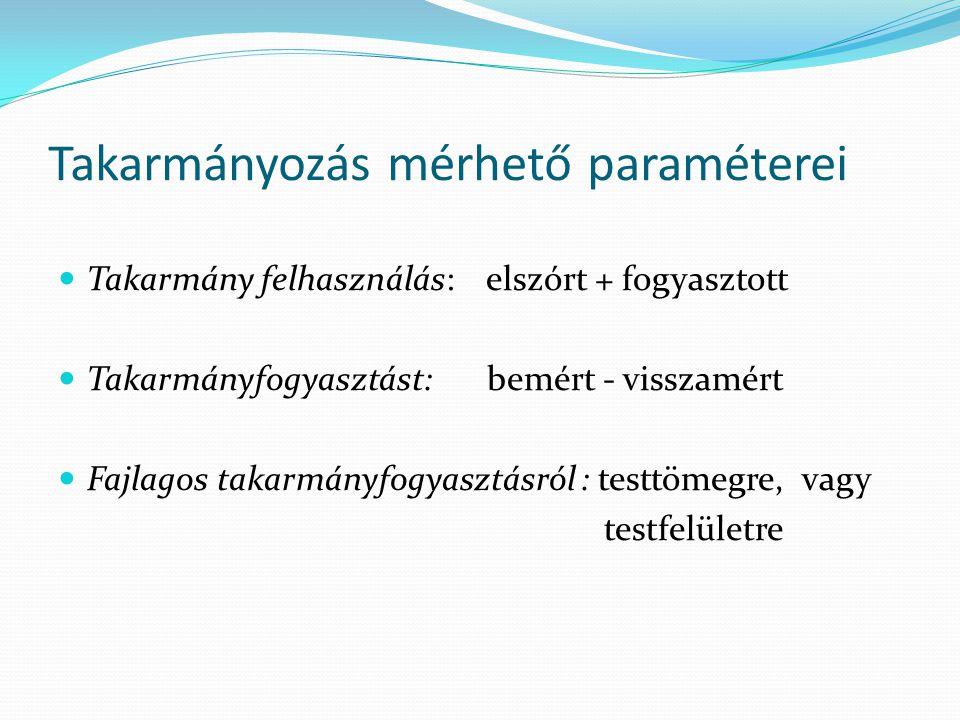 Takarmányozás mérhető paraméterei Takarmány felhasználás: elszórt + fogyasztott Takarmányfogyasztást: bemért - visszamért Fajlagos takarmányfogyasztás