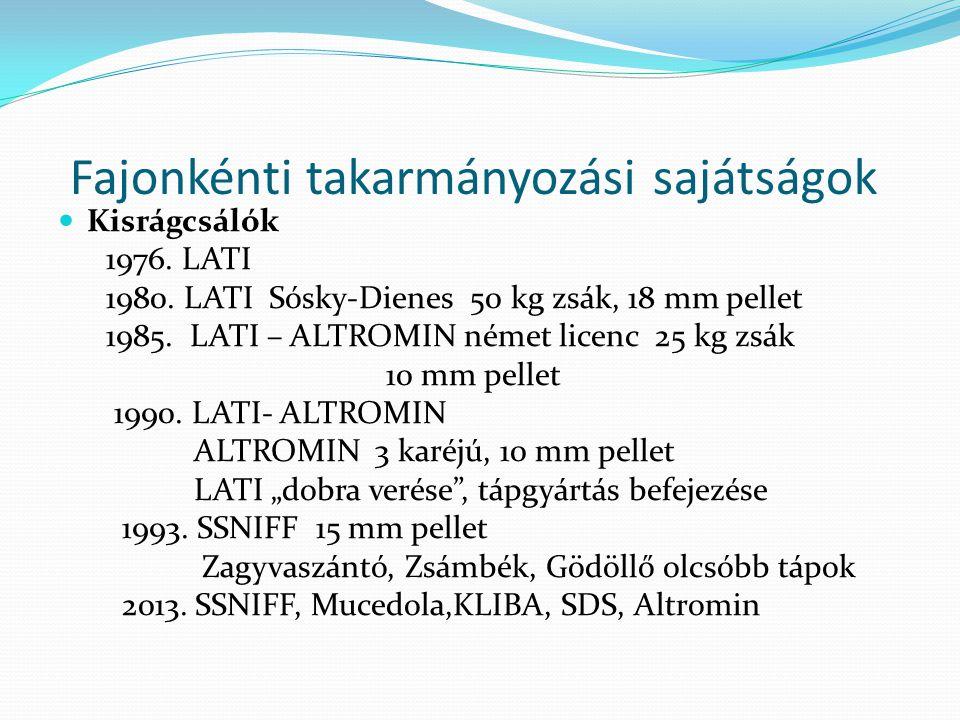 Fajonkénti takarmányozási sajátságok Kisrágcsálók 1976. LATI 1980. LATI Sósky-Dienes 50 kg zsák, 18 mm pellet 1985. LATI – ALTROMIN német licenc 25 kg