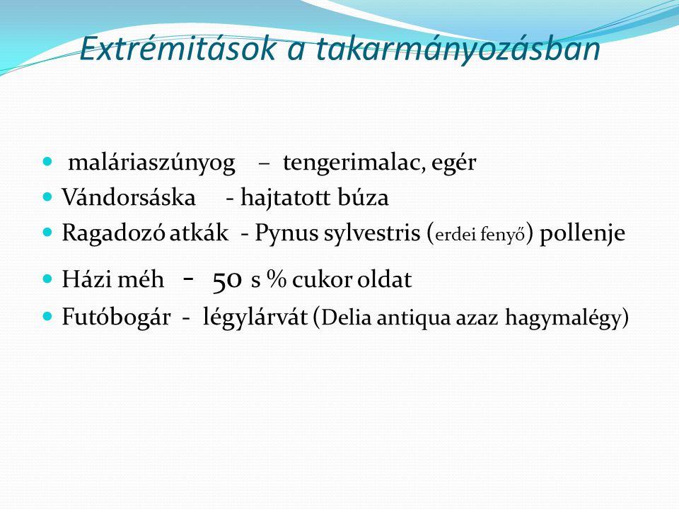 Extrémitások a takarmányozásban maláriaszúnyog – tengerimalac, egér Vándorsáska - hajtatott búza Ragadozó atkák - Pynus sylvestris ( erdei fenyő ) pol