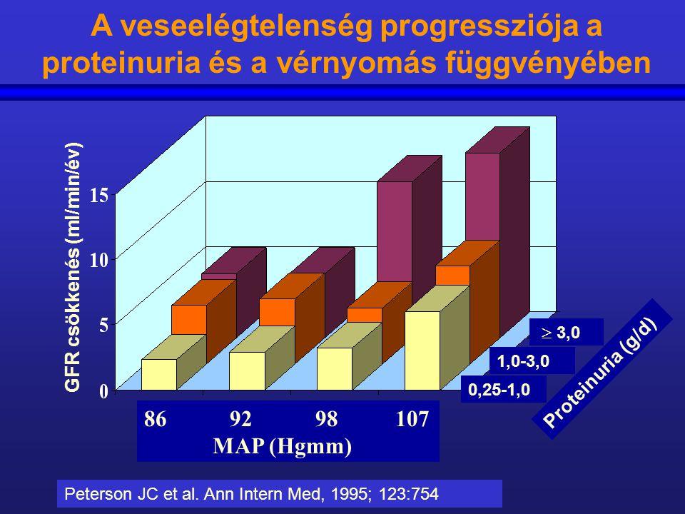 A veseelégtelenség progressziója a proteinuria és a vérnyomás függvényében 86 92 98 107 MAP (Hgmm) Proteinuria (g/d) 0,25-1,0 1,0-3,0  3,0 GFR csökke