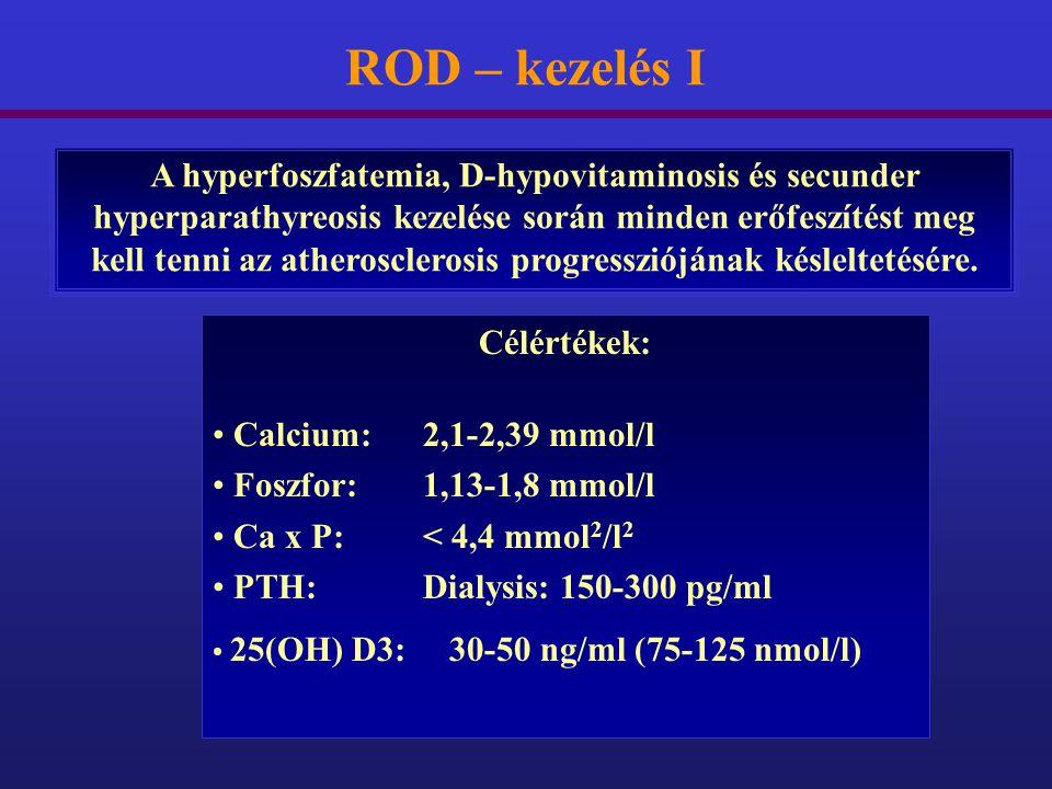 ROD – kezelés I A hyperfoszfatemia, D-hypovitaminosis és secunder hyperparathyreosis kezelése során minden erőfeszítést meg kell tenni az atherosclero