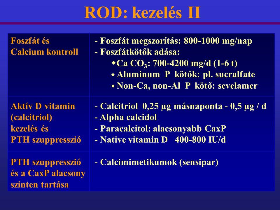 ROD: kezelés II Foszfát és - Foszfát megszorítás: 800-1000 mg/nap Calcium kontroll- Foszfátkötők adása:  Ca CO 3 : 700-4200 mg/d (1-6 t)  Aluminum P