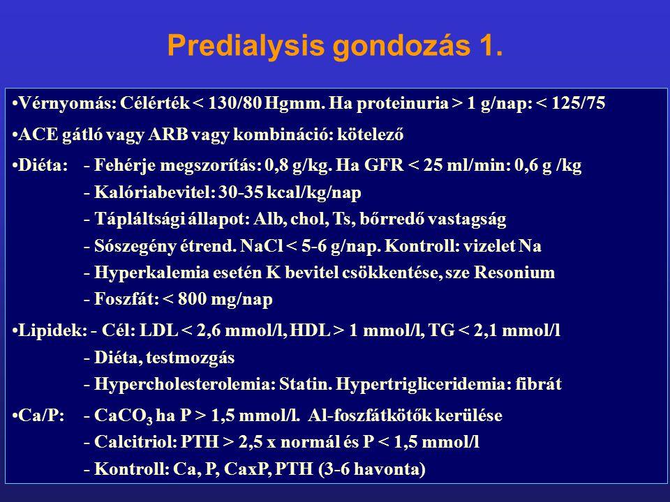 Vérnyomás: Célérték 1 g/nap: < 125/75 ACE gátló vagy ARB vagy kombináció: kötelező Diéta: - Fehérje megszorítás: 0,8 g/kg. Ha GFR < 25 ml/min: 0,6 g /