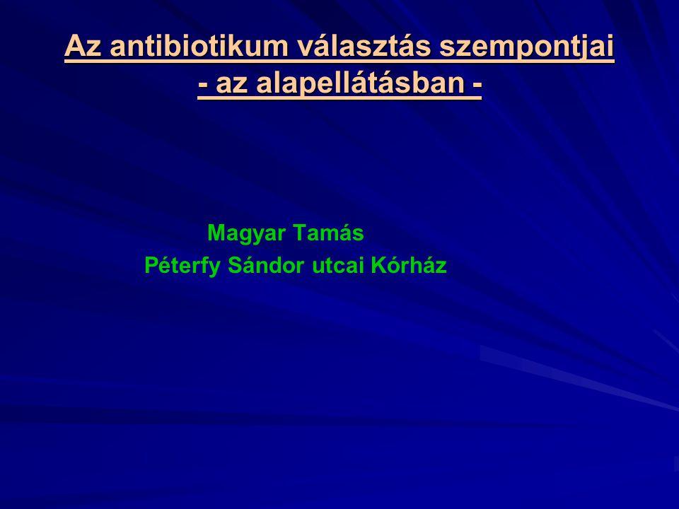 Az antibiotikum választás szempontjai - az alapellátásban - Magyar Tamás Péterfy Sándor utcai Kórház
