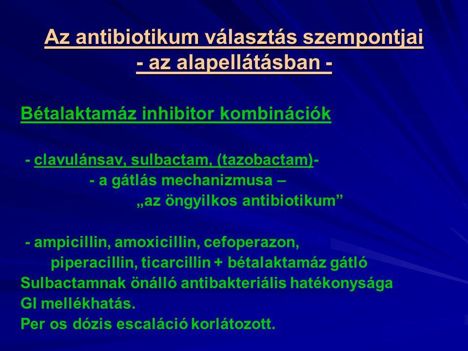 """Az antibiotikum választás szempontjai - az alapellátásban - Bétalaktamáz inhibitor kombinációk - clavulánsav, sulbactam, (tazobactam)- - a gátlás mechanizmusa – """"az öngyilkos antibiotikum - ampicillin, amoxicillin, cefoperazon, piperacillin, ticarcillin + bétalaktamáz gátló Sulbactamnak önálló antibakteriális hatékonysága GI mellékhatás."""