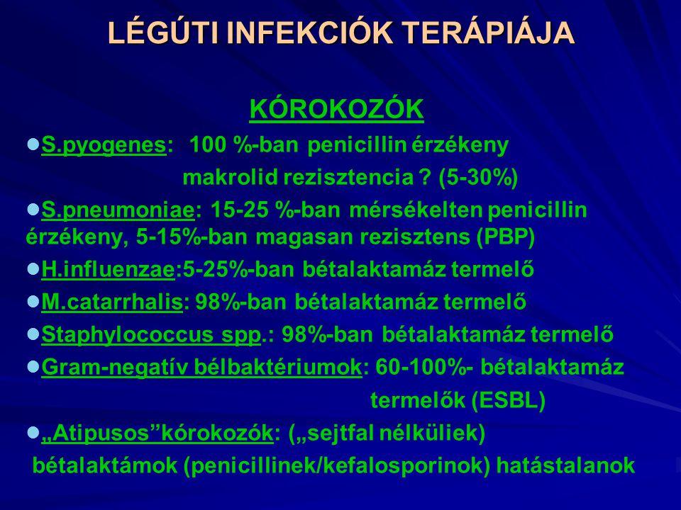 LÉGÚTI INFEKCIÓK TERÁPIÁJA KÓROKOZÓK S.pyogenes: 100 %-ban penicillin érzékeny makrolid rezisztencia .