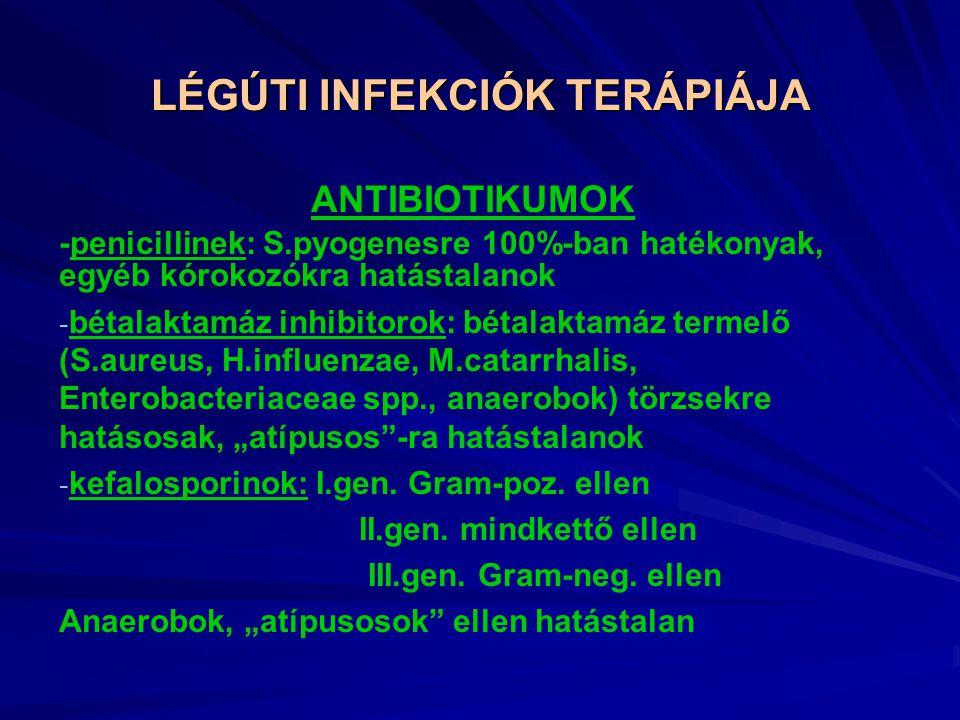 """LÉGÚTI INFEKCIÓK TERÁPIÁJA ANTIBIOTIKUMOK -penicillinek: S.pyogenesre 100%-ban hatékonyak, egyéb kórokozókra hatástalanok - bétalaktamáz inhibitorok: bétalaktamáz termelő (S.aureus, H.influenzae, M.catarrhalis, Enterobacteriaceae spp., anaerobok) törzsekre hatásosak, """"atípusos -ra hatástalanok - kefalosporinok: I.gen."""