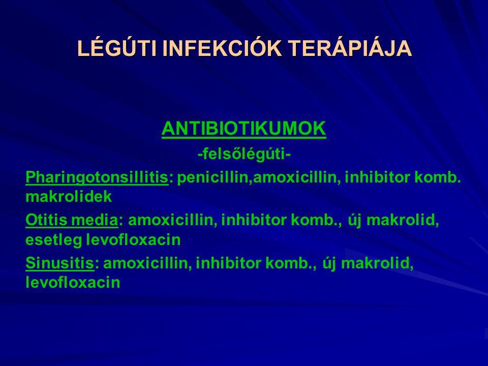 LÉGÚTI INFEKCIÓK TERÁPIÁJA ANTIBIOTIKUMOK -felsőlégúti- Pharingotonsillitis: penicillin,amoxicillin, inhibitor komb.