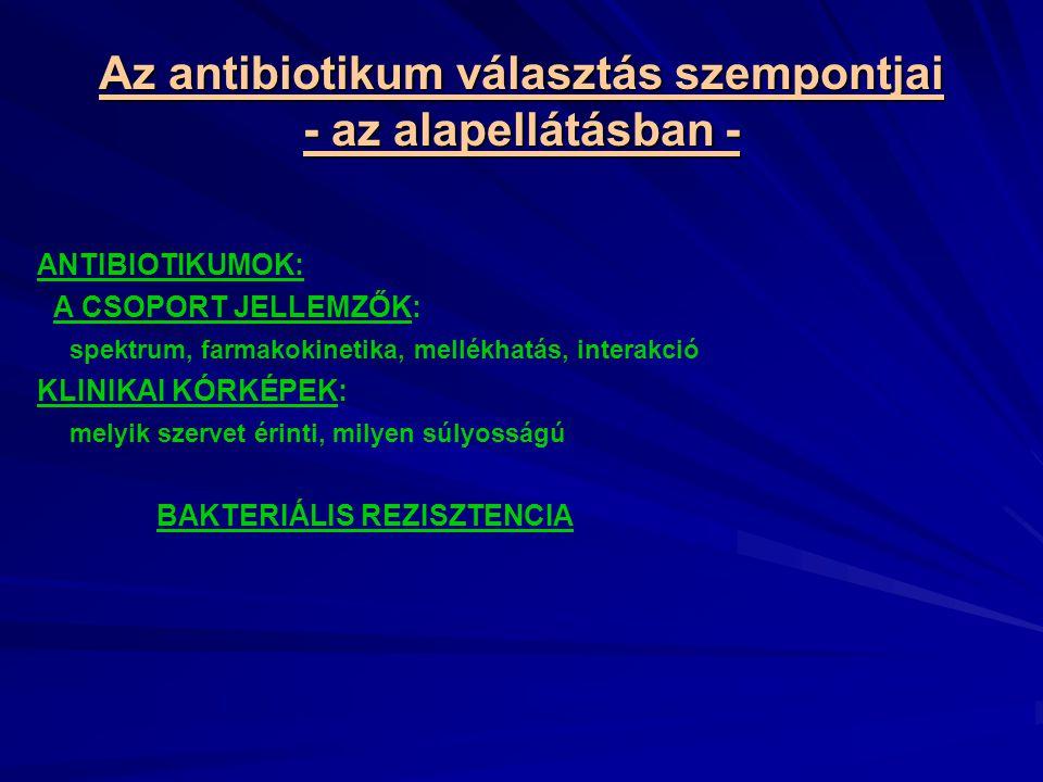 Az antibiotikum választás szempontjai - az alapellátásban - ANTIBIOTIKUMOK: A CSOPORT JELLEMZŐK: spektrum, farmakokinetika, mellékhatás, interakció KLINIKAI KÓRKÉPEK: melyik szervet érinti, milyen súlyosságú BAKTERIÁLIS REZISZTENCIA