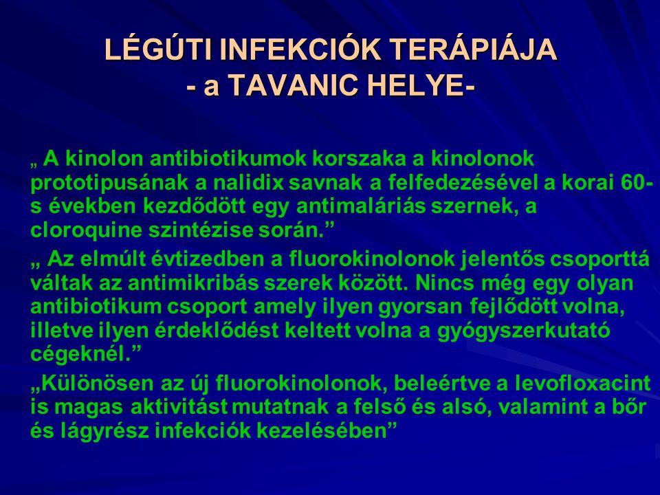 """LÉGÚTI INFEKCIÓK TERÁPIÁJA - a TAVANIC HELYE- """" A kinolon antibiotikumok korszaka a kinolonok prototipusának a nalidix savnak a felfedezésével a korai 60- s években kezdődött egy antimaláriás szernek, a cloroquine szintézise során. """" Az elmúlt évtizedben a fluorokinolonok jelentős csoporttá váltak az antimikribás szerek között."""