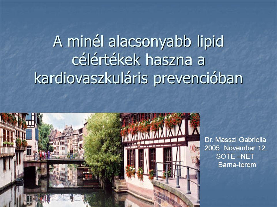 PROVE-IT : Pravastatin or Atorvastatin Agresszív LDL-C-csökkentés hatása a kardiovaszkuláris eseményekre és a mortalitásra akut koronáriaszindróma után Agresszív LDL-C-csökkentés hatása a kardiovaszkuláris eseményekre és a mortalitásra akut koronáriaszindróma után 80 mg atorvastatin (n=2099) vs.