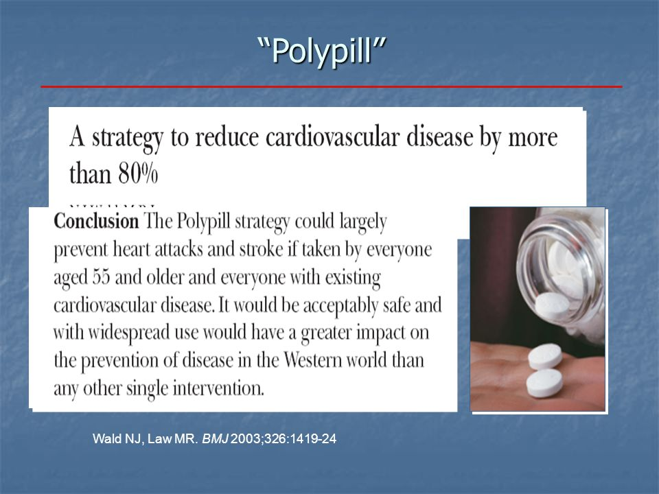 """Polypill"" Wald NJ, Law MR. BMJ 2003;326:1419-24"