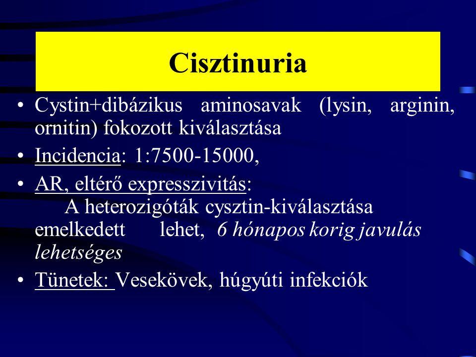 Cisztinuria Cystin+dibázikus aminosavak (lysin, arginin, ornitin) fokozott kiválasztása Incidencia: 1:7500-15000, AR, eltérő expresszivitás: A heteroz