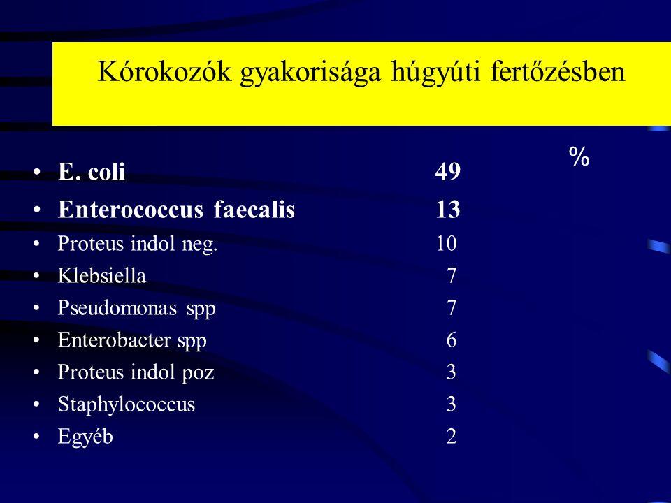 Kórokozók gyakorisága húgyúti fertőzésben E. coli49 Enterococcus faecalis13 Proteus indol neg. 10 Klebsiella 7 Pseudomonas spp 7 Enterobacter spp 6 Pr