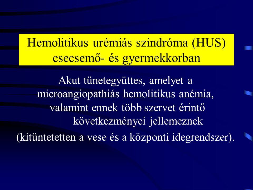 Hemolitikus urémiás szindróma (HUS) csecsemő- és gyermekkorban Akut tünetegyüttes, amelyet a microangiopathiás hemolitikus anémia, valamint ennek több
