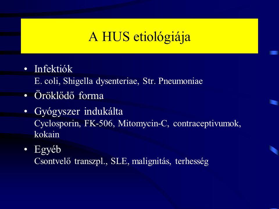A HUS etiológiája Infektiók E. coli, Shigella dysenteriae, Str. Pneumoniae Öröklődő forma Gyógyszer indukálta Cyclosporin, FK-506, Mitomycin-C, contra