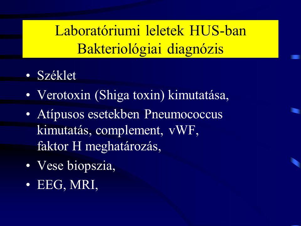 Laboratóriumi leletek HUS-ban Bakteriológiai diagnózis Széklet Verotoxin (Shiga toxin) kimutatása, Atípusos esetekben Pneumococcus kimutatás, compleme