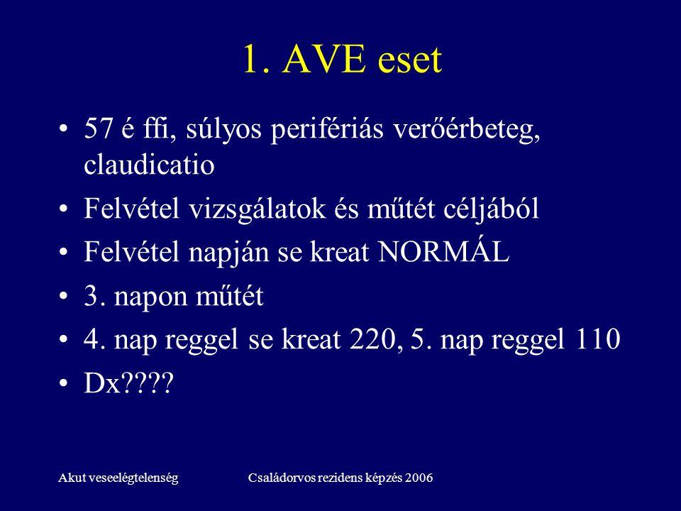 Akut veseelégtelenségCsaládorvos rezidens képzés 2006 1. AVE eset 57 é ffi, súlyos perifériás verőérbeteg, claudicatio Felvétel vizsgálatok és műtét c