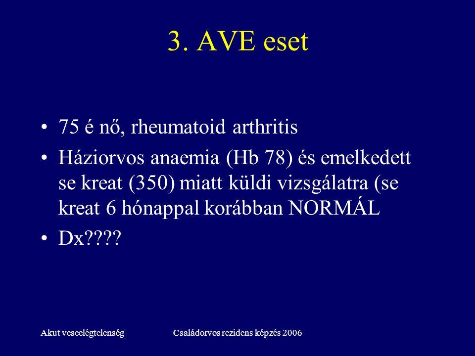 Akut veseelégtelenségCsaládorvos rezidens képzés 2006 3. AVE eset 75 é nő, rheumatoid arthritis Háziorvos anaemia (Hb 78) és emelkedett se kreat (350)
