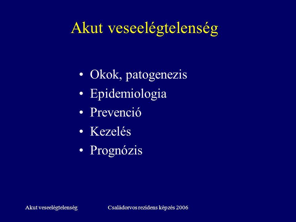Családorvos rezidens képzés 2006 Akut veseelégtelenség Definíció: változó 60-130 mikromol/l se Kreat emelkedés Oliguria RRT szükségessége Kórházban fekvők 1-5%, ICU 5-20% Oliguriás vs non-oliguriás AVE