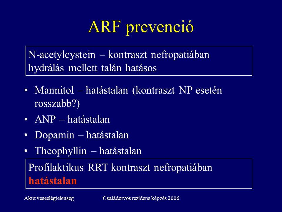 Akut veseelégtelenségCsaládorvos rezidens képzés 2006 ARF prevenció Mannitol – hatástalan (kontraszt NP esetén rosszabb?) ANP – hatástalan Dopamin – h