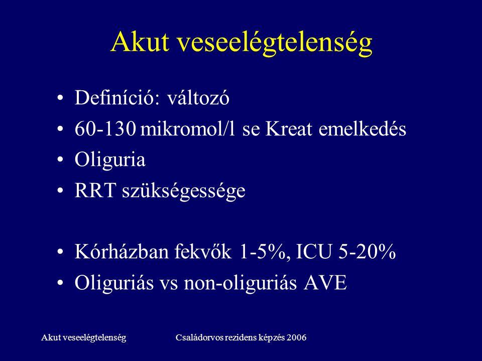 Akut veseelégtelenségCsaládorvos rezidens képzés 2006 AVE diagnózisa Anamnesis, fizikális vizsgálat –Korábbi vesefunkció, fennálló betegségek, gyógyszerek, beavatkozások (műtét, rtg, érkatéterezés) –Volumenstatus, keringés, bőr – vasculitisek –Vizelet: mennyiség, szín, ÜLEDÉK!!!